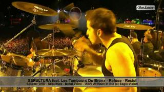 Video of Sepultura and Les Tambours Du Bronx live at Rock in Rio on RockLabel...